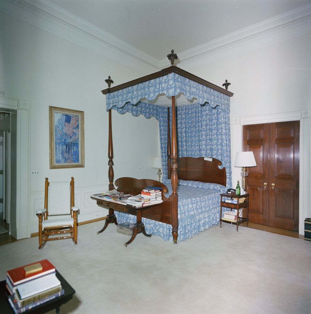 President Kennedy's White House Bedroom Fabric on angled garage house plan designs, h-shaped house designs, fabric henry glass angel houses,
